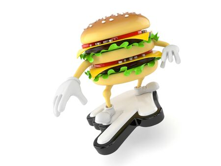 Hamburger character with cursor isolated on white background