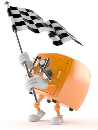 Safe character with racing flag isolated on white background