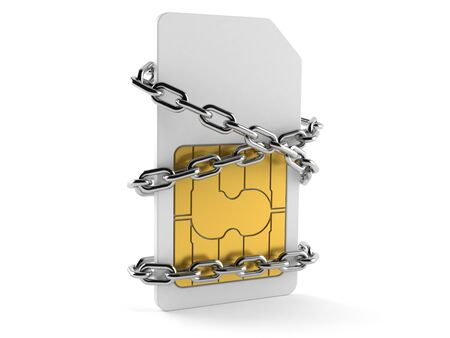 SIM card with chain isolated on white background
