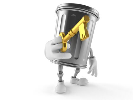 Trash can character holding door key isolated on white background