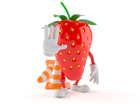 Strawberry character with traffic cone isolated on white background