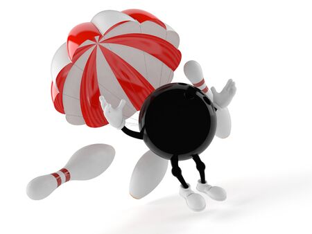 Bowling character with parachute isolated on white background Stock Photo