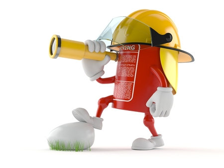 Fire extinguisher character looking through a telescope isolated on white background