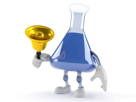 Chemistry flask character ringing a handbell isolated on white background