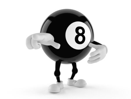 Eight ball character isolated on white background Banque d'images