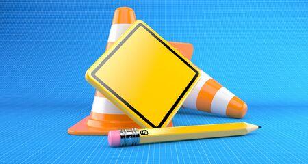 青写真の背景にトラフィックコーンを持つ空白の道路標識