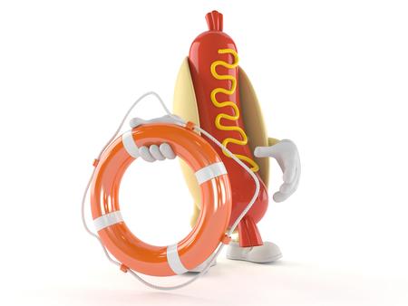 Hot dog character holding life buoy isolated on white background
