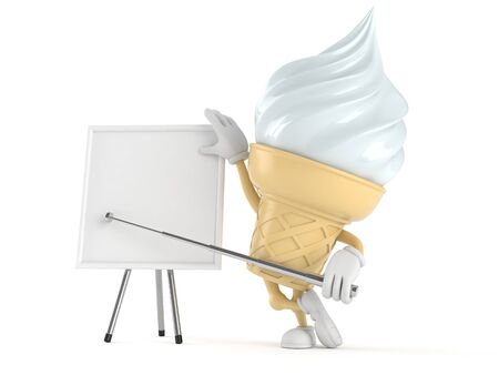 Ice cream character with whiteboard isolated on white background