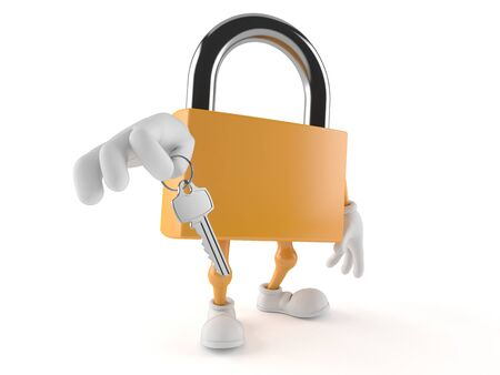 Padlock character with door key isolated on white background