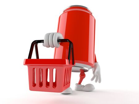 Soda can character holding shopping basket isolated on white background