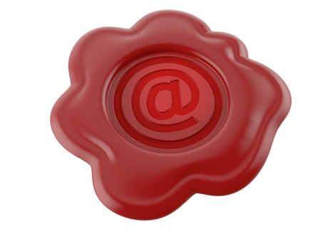 E-mail seal stamp isolated on white background