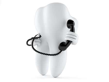 Tooth character holding a telephone handset isolated on white background Фото со стока