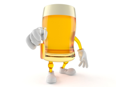 Beer character holding a sample isolated on white background Stock Photo