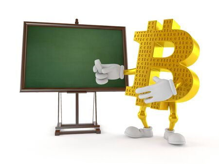 Bitcoin character with blank blackboard isolated on white background