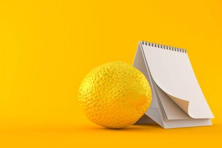 Lemon with blank calendar isolated on orange background Stock Photo