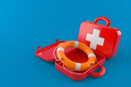 First aid kit with life buoy isolated on blue background