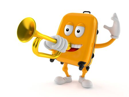 Suitcase character playing the trumpet isolated on white background Stock Photo