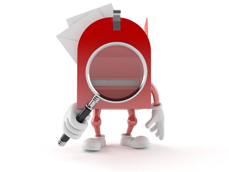 Mailbox character looking through magnifying glass isolated on white background