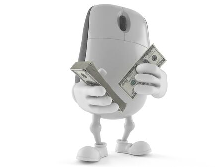 Computer mouse character counting money isolated on white background