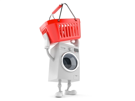 Washer character holding shopping basket isolated on white background