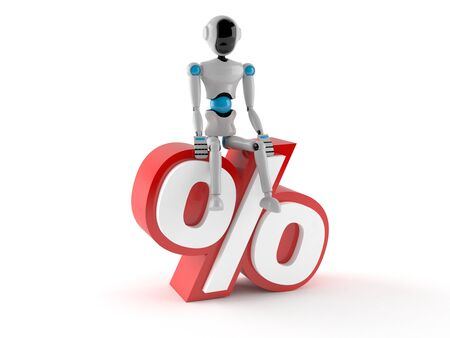 robot with percent symbol isolated on white background