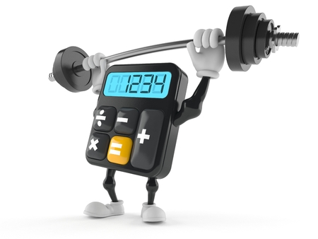 Calculator character lifting heavy barbell isolated on white background Foto de archivo