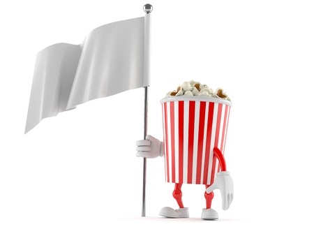 Popcorn character with blank flag isolated on white background