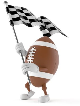 Rugby character with racing flag isolated on white background