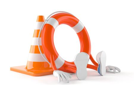 Life buoy character with traffic cone isolated on white background