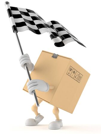 Package character with racing flag isolated on white background
