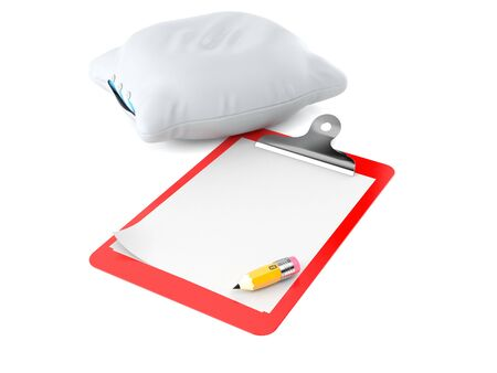 Pillow with blank clipboard isolated on white background Stock Photo