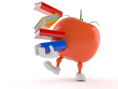 Tomato character carrying books isolated on white background Фото со стока