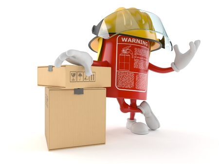 Fire extinguisher character with stack of boxes isolated on white background Stock Photo
