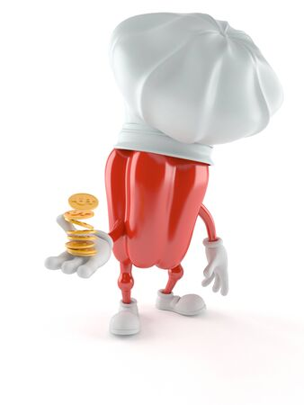 Paprika character with coins isolated on white background