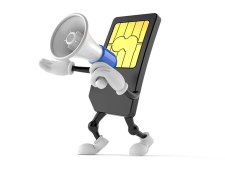 SIM card character holding megaphone on white background