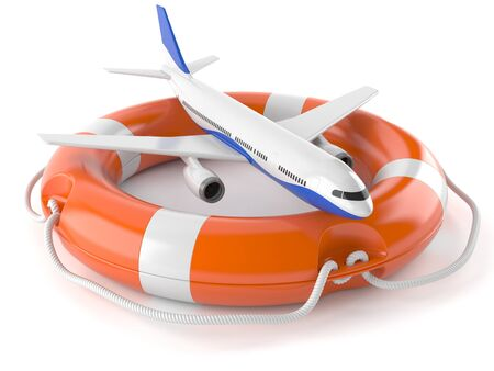 Airplane with life buoy isolated on white background