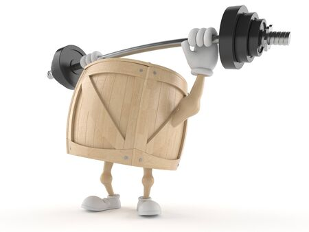 Crate character lifting heavy barbell isolated on white background 版權商用圖片