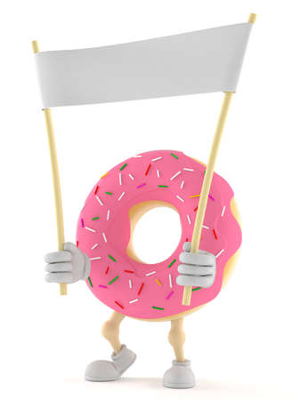 Donut character holding blank banner isolated on white background Stock Photo