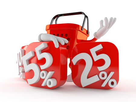 Shopping basket character behind percentage signs isolated on white background. 3d illustration