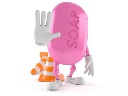 Soap character making stop gesture isolated on white background. 3d illustration