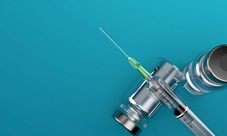 Syringe with medical supplies on blue background. 3d illustration Archivio Fotografico