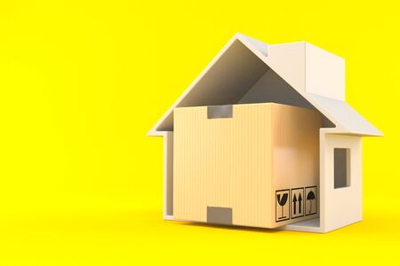 Package inside house cross-section isolated on orange background. 3d illustration Stock Photo