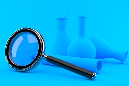 Chemistry background with magnifying glass in blue color. 3d illustration Stock Photo