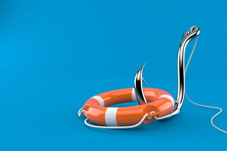Fishing hook with life buoy isolated on blue background. 3d illustration