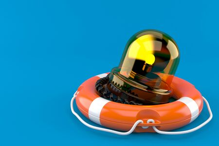 Emergency siren with life buoy isolated on blue background. 3d illustration Stock Photo