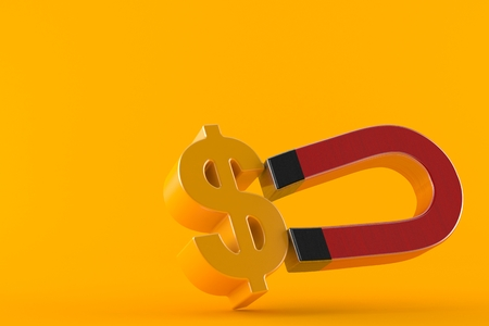 Horseshoe magnet with dollar currency symbol isolated on orange background. 3d illustration Stock Photo