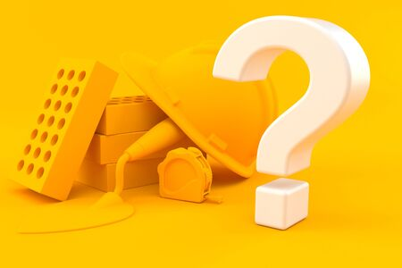Masonry background with question mark in orange color. 3d illustration