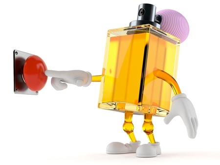 Perfume character pushing button isolated on white background. 3d illustration