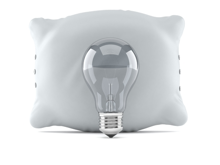 Pillow with light bulb isolated on white background. 3d illustration