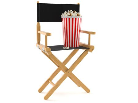 Movie director chair with popcorn isolated on white background Stock Photo